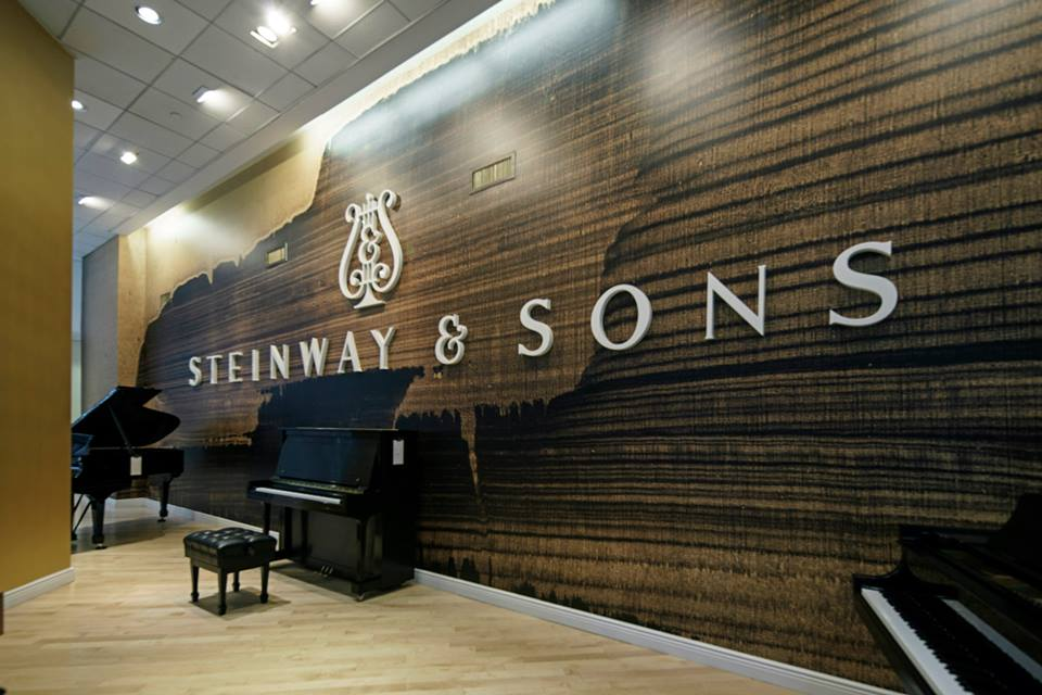 Installation at Steinway & Sons    Gold Landscape , 2009, Oil and gold dust on linen,  Courtesy Culture Corps., New York, NY