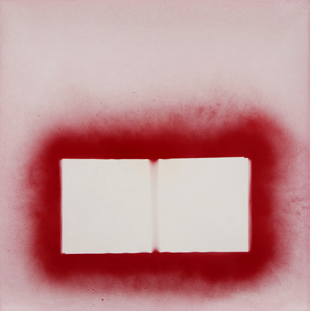 "Deflowered (Homage to Judy Chicago), Oil and spray paint on canvas, 40""x40"" (100cm x 100cm)  2015"