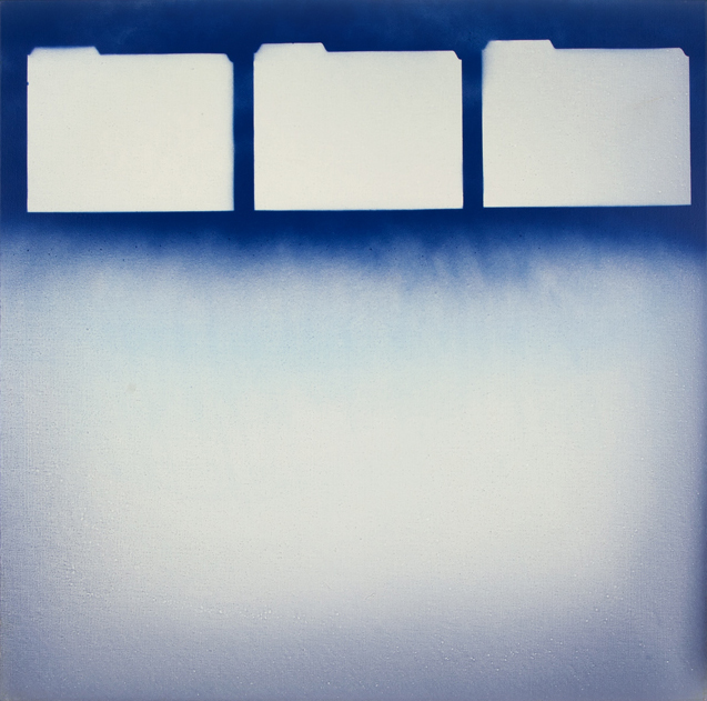 "Three Folders, Oil and Spray Paint on Canvas, 40""x40"" (100cm x 100cm)  2015"