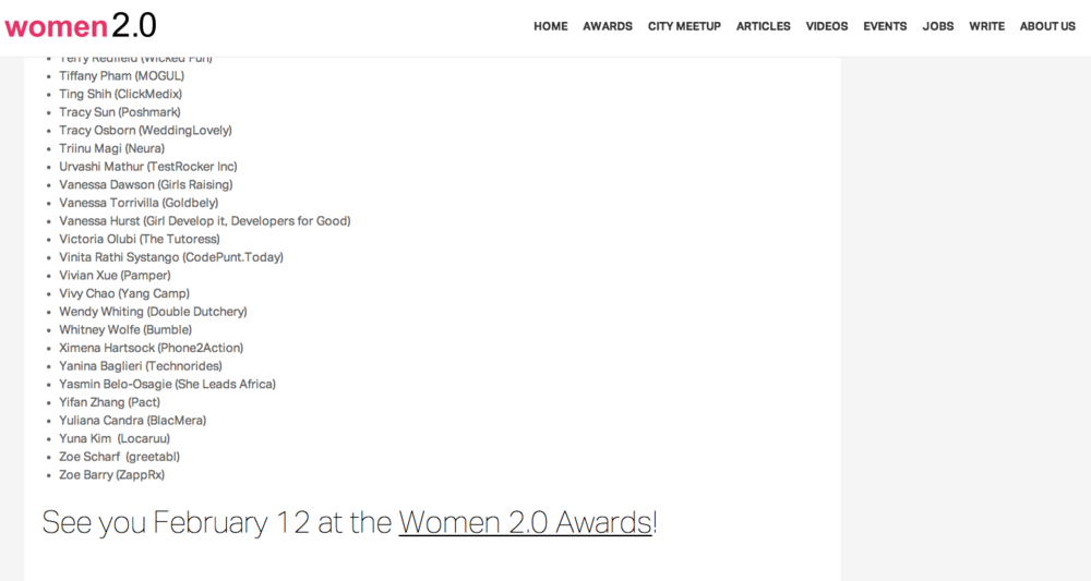 Women2.0 Awards 2015