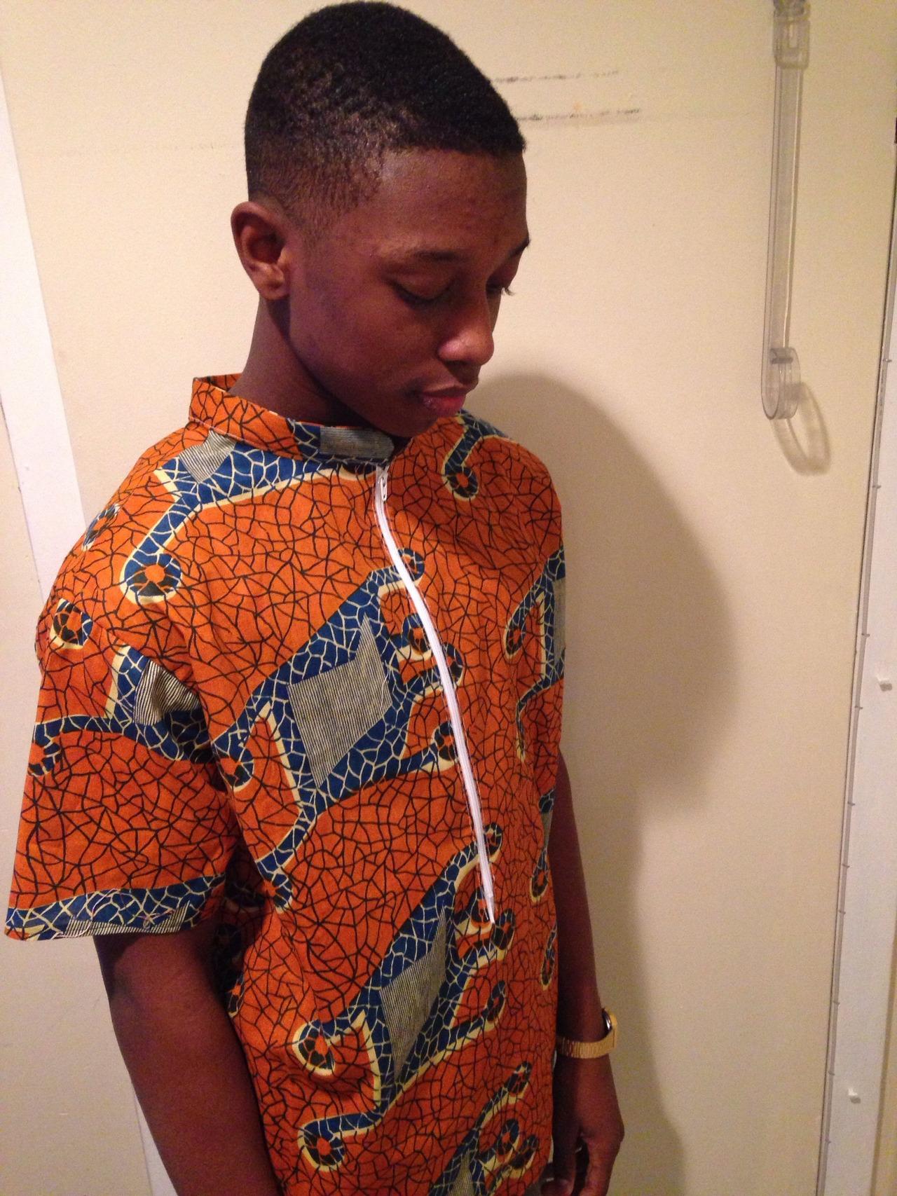 Elijah J.   BrownMill Handmade Spring   West African Print Short Sleeve Zip Up Shirt   (spring/sample)[t2014]