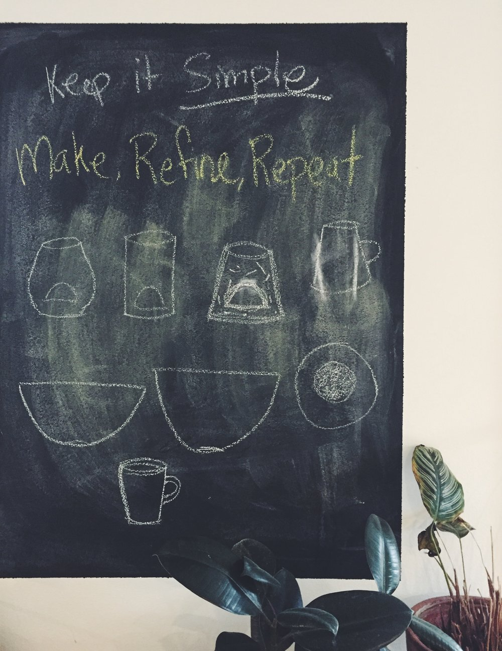 Studio chalkboard.