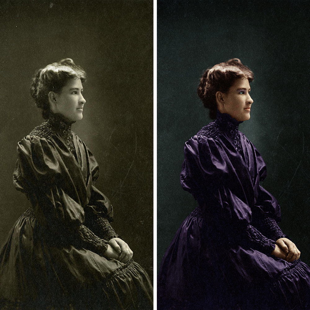 colorization - Enhance contrast and adjust exposure, correct shadows and light, colorize objects and background, enhance sharpness and fix details, remove water and ink spots, restore damaged details, restore torn and repair broken photos