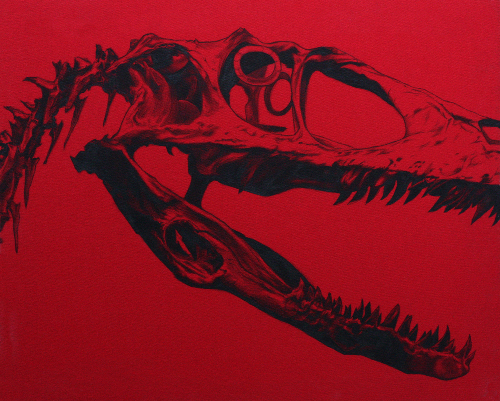 "Raptor-Ink on red canvas. 19""x23"""