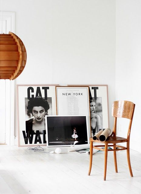 lifeonsundays.com FLOOR LEANING GALLERY- for an effortless display, lean art along a wall using the floor like a shelf.