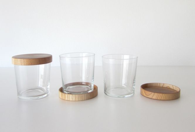 Japanese glassware  with coaster that double as lids.