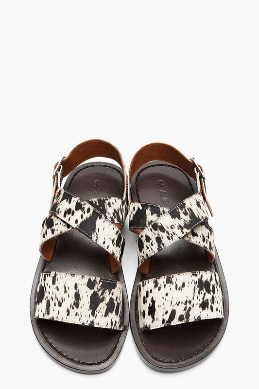 Comfortable animal printed sandals by Marni.