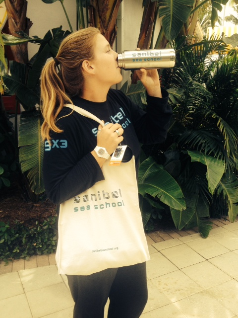 Check out Emily being super sustainable with her reusable bag and water bottle!
