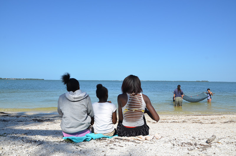 Students from the Pine Manor Improvement Association enjoy a Saturday at the beach with Sanibel Sea School.