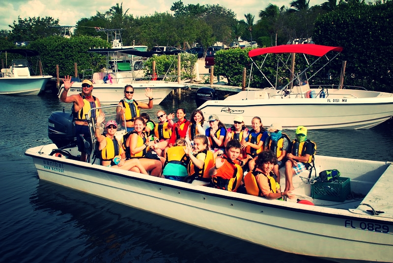 Campers venture out to snorkel with groupers, sharks, rays, and more at Looe Key Reef!