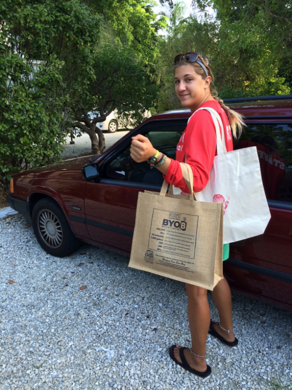 Spencer, one of our marine educators, always brings her reusable bags when she goes to the grocery store.