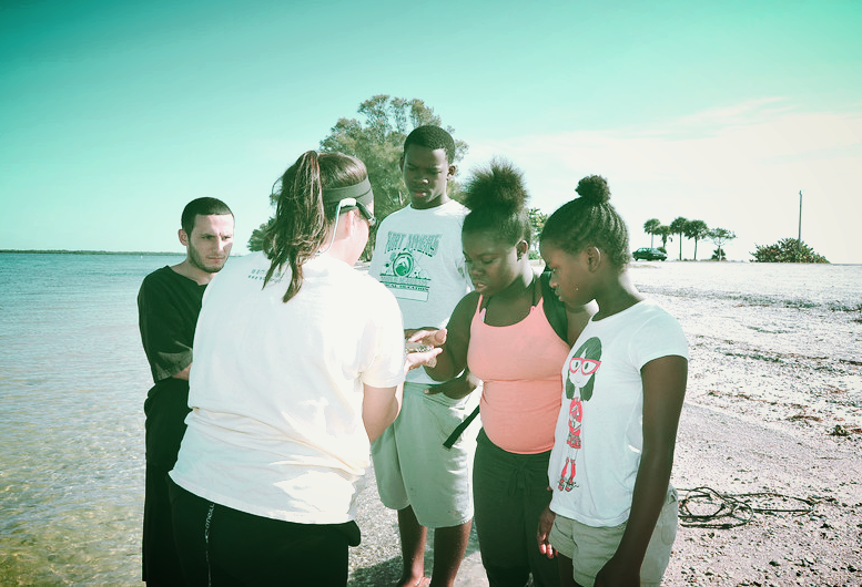 Students from the Pine Manor Improvement Association explore the beaches of Causeway Islands Park with Sanibel Sea School.
