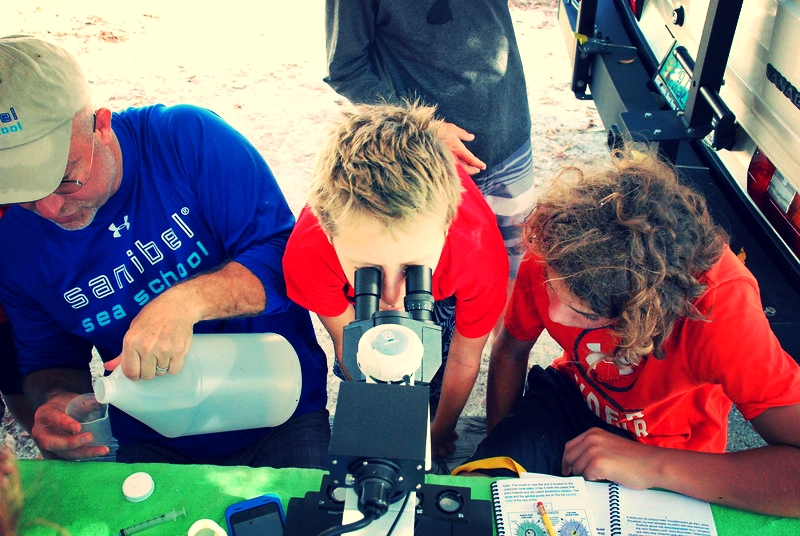 Bill Roudebush leads a sea urchin embryology lab with his solar-powered microscope.