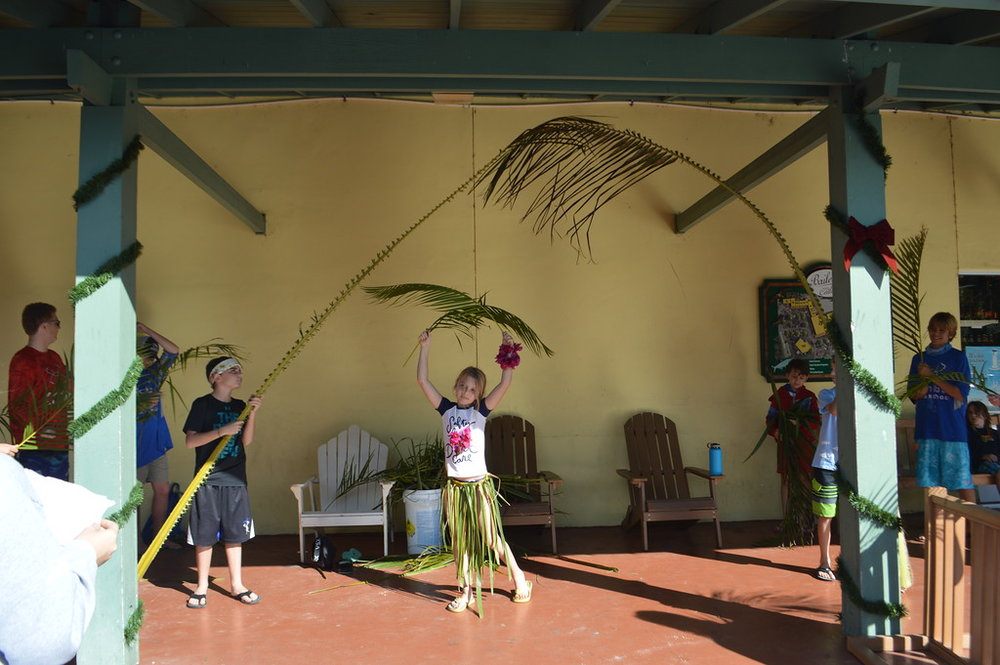 Camp groups performed their hula dances for shoppers at Bailey's General Store.
