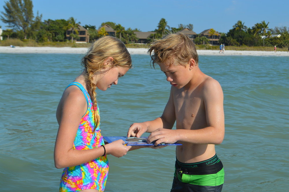 Camryn Peach and Preston Hall participated in sand dollar research.