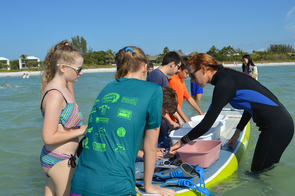 Carley Todd gives Sanibel School students an introduction to sand dollar research.