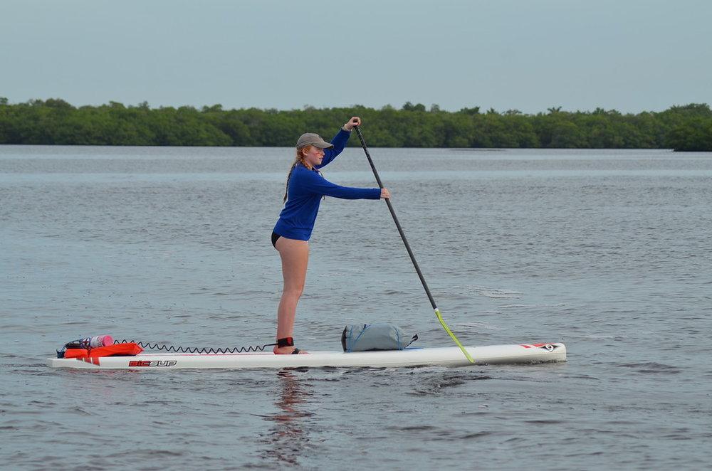 Addy Rundqwist paddles on San Carlos Bay.