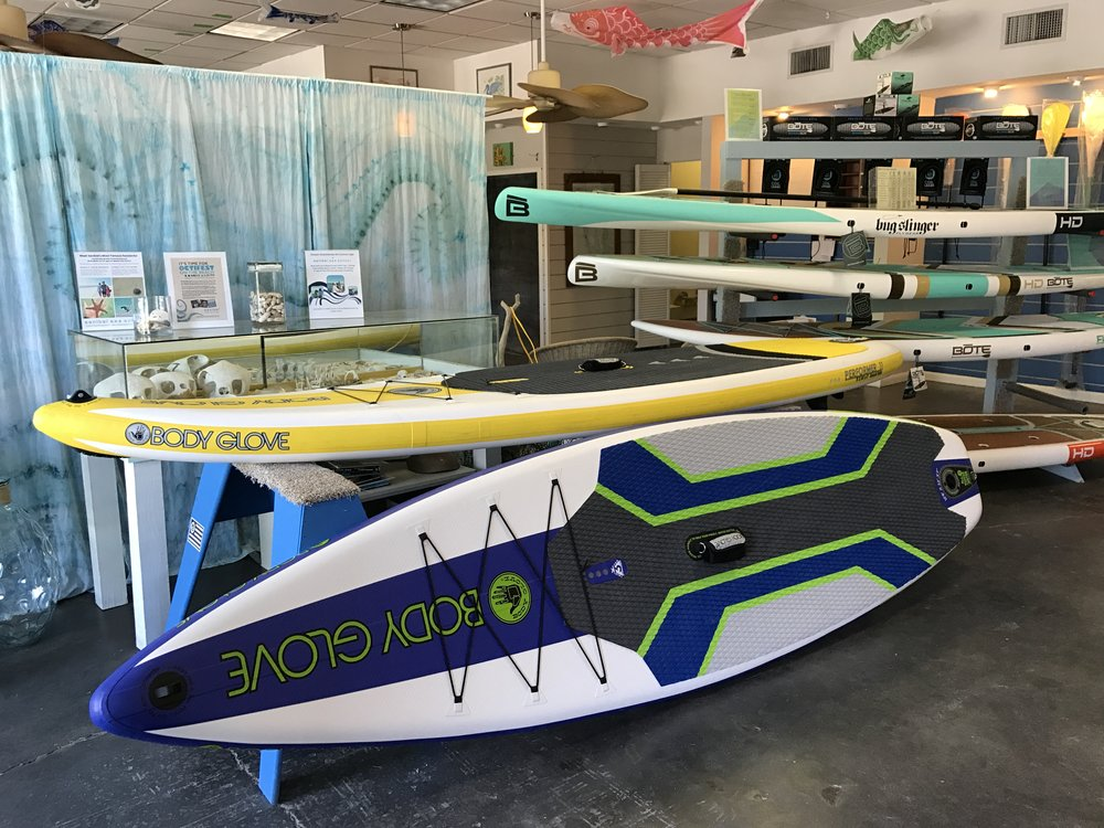 Sanibel Sea School sells SUP boards and accessories at its Flagship Campus on Sanibel.