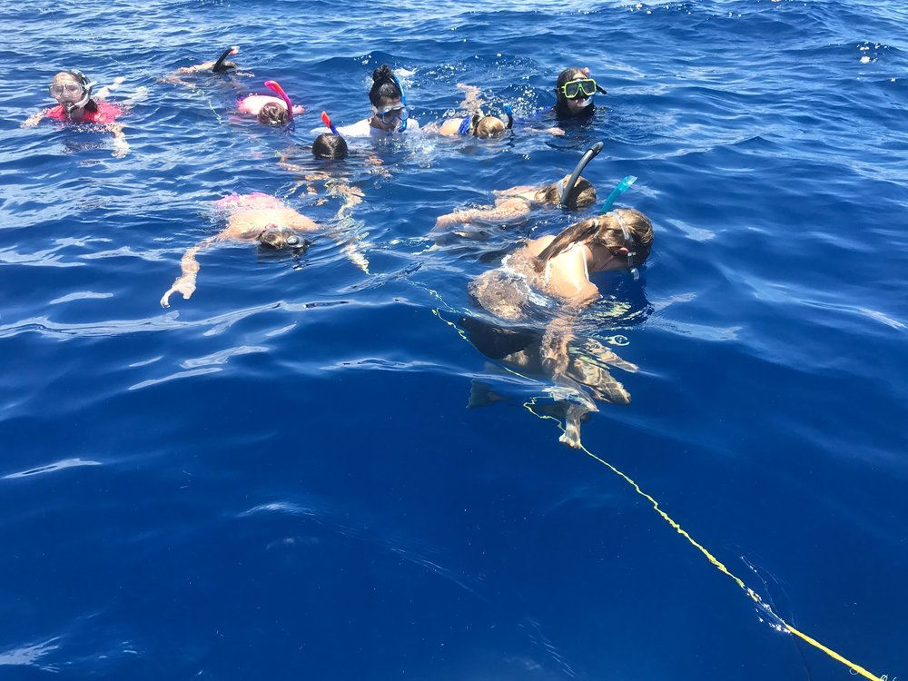 "Snorkeling in the ""Deep Blue"", where the ocean is 450 feet deep, was a favorite activity among participants."