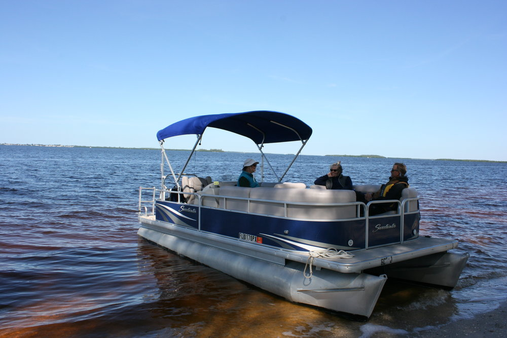 Sanibel Sea School's pontoon boat.