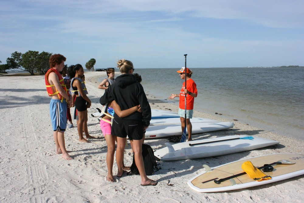 Participants prepared for a stand up paddleboarding lesson.