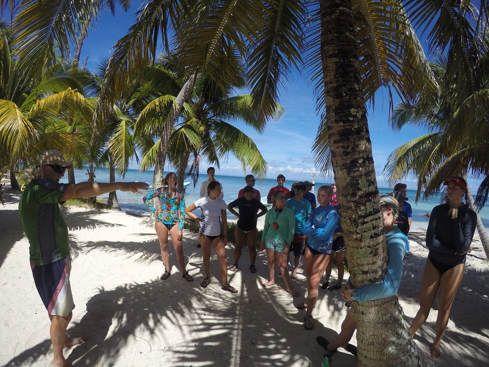 Arriving on South Water Caye.