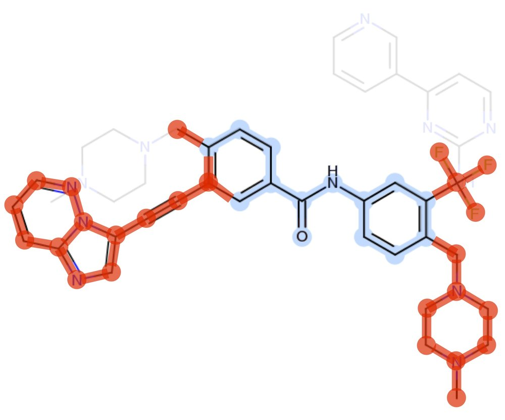 imatinib to ponatinib common scaffold (blue) and newly built atoms (red)
