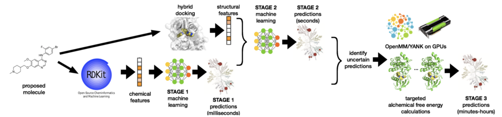 An example workflow for utilizing structure-informed machine learning and free energy calculations to predict kinase polypharmacology.