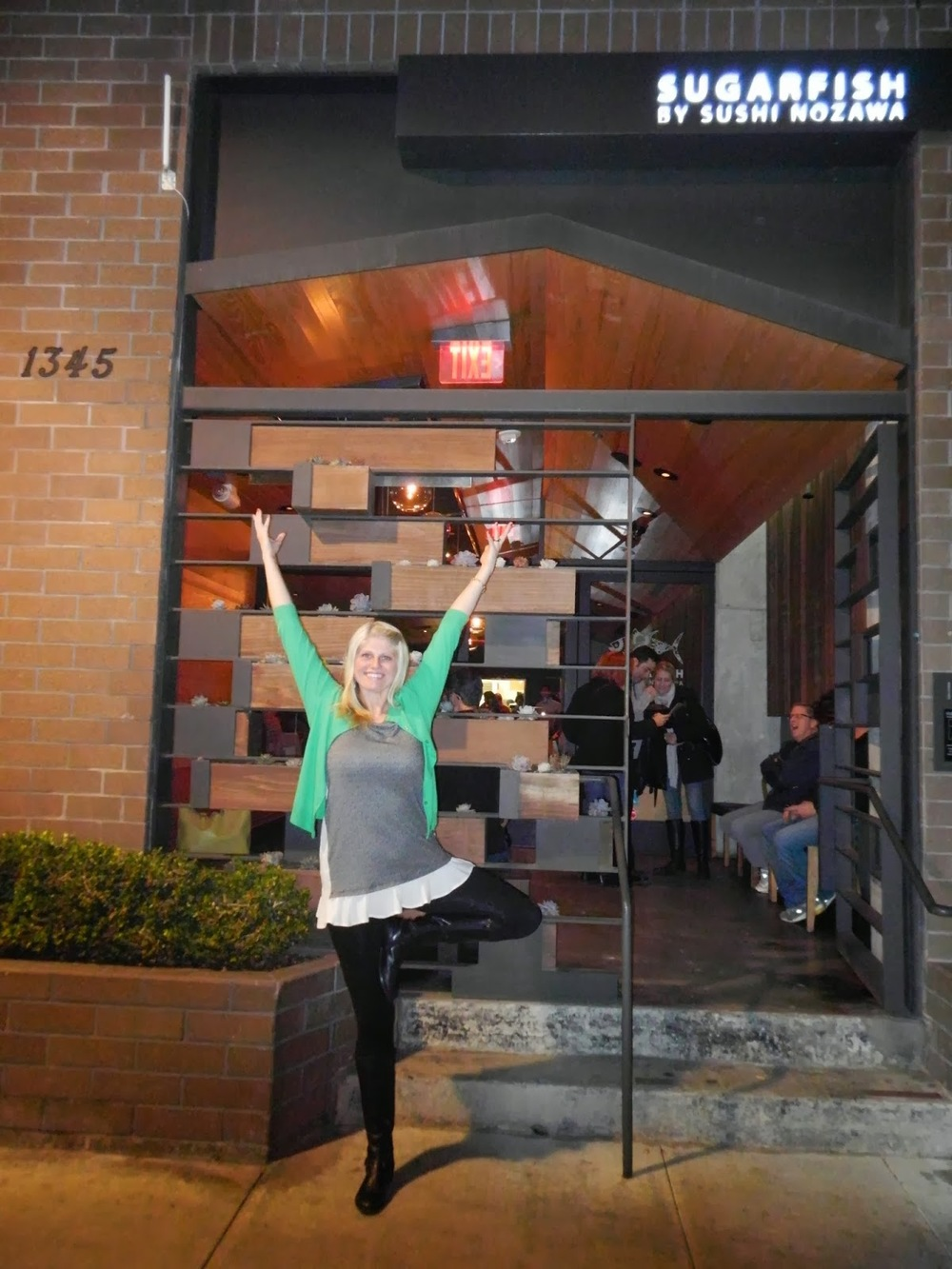 Saluting to Sugarfish with my tree pose.
