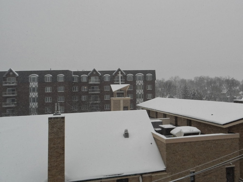 The snow covered rooftops in downtown Glen Ellyn.