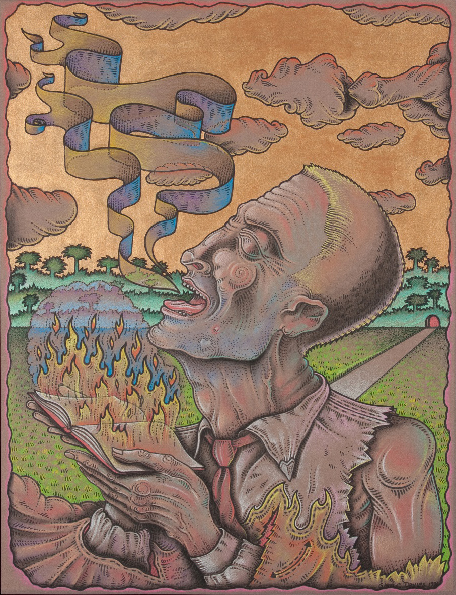 "The Voice of the Prophet , 1996, 25.5""x19.5"", color pencil, ink, and acrylic on toned paper"