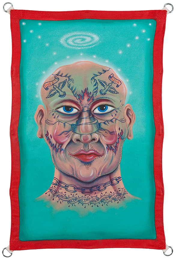 "Tattooed Head, 2010, 48"" x 36"", Acrylic on Canvas"
