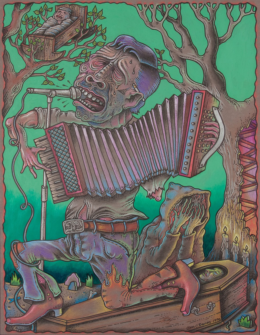 "Mi Corazon (Cradle to the Grave) 1996,  25.5""x19.5"", Color Pencil, Ink, and Acrylic on Toned Paper"