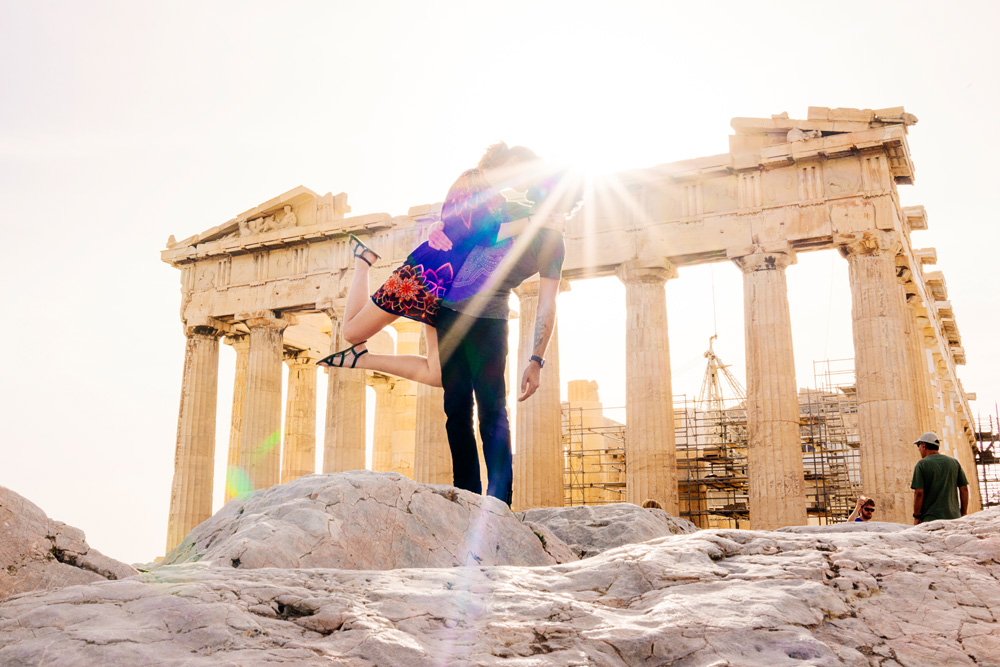 We just got back from an amazing trip to Greece! So while we're waiting on film, here's some photos of us #BrinsonBanksing at some amazing landmarks, including the Parthenon above.