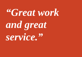 Great work and great service.  Evan Fowler, Denver CO