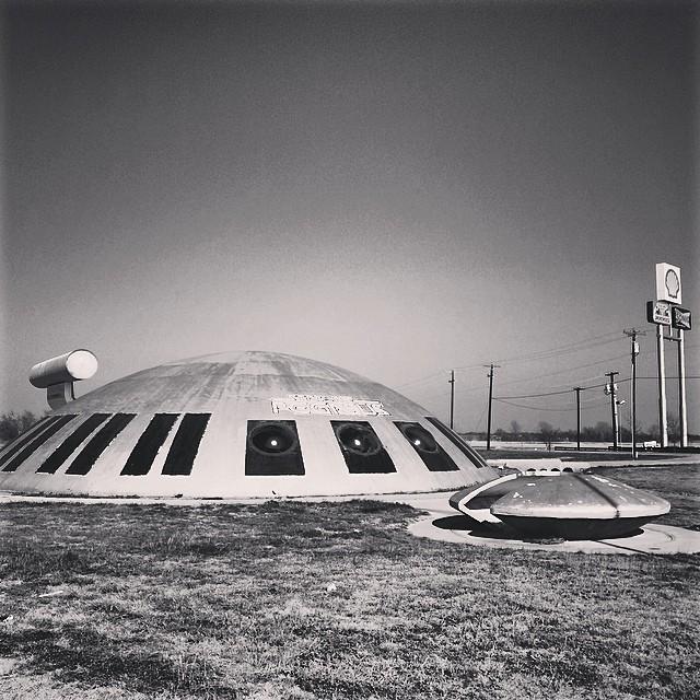 Spaceships and Truck stops #roadtrip #dallas #austin #texas #love #bw #monochromemonday