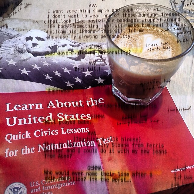 Memorizing lines and the American constitution at the same time. Thank god for #coffee #notalazysaturday #whenitrainsitpours #luckygirl #nocomplaints
