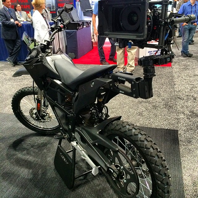 So many amazing new gadgets and cameras at #NAB #NABshow but my heart was set on this #freefly #steadicam attachment for a #motorcycle #everydayisforriding and making films 🎥 #cameranerd