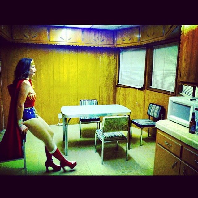 When I grow up can I be #wonderwoman Happy Monday all and #carpediem Thanks for the capture in the perfect creepy 70's kitchen @Jasmincharters #goodtimes x