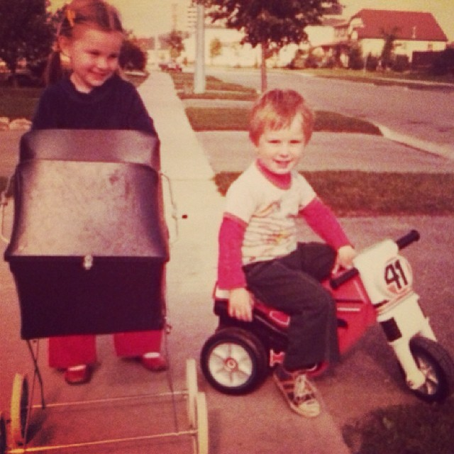 #tbt to that time I visited a friend and his parents gave me his sisters pram to play with but all I wanted was his #motorbike #toyenvy #bellbottoms #80s man