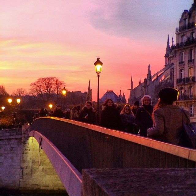 Crossing bridges at #sunset last pic before I pass out. Long day of filming models tomorrow and Thursday. I won't have time to see the city and take pics. #cityoflove #paris #luckygirl #nofilter #telephoto