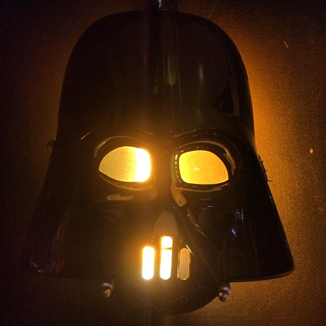 This guy as my hotel bedside light is making it hard for me to wake up haha #starwars #darthvader #wildlysimple #paris #mamashelter