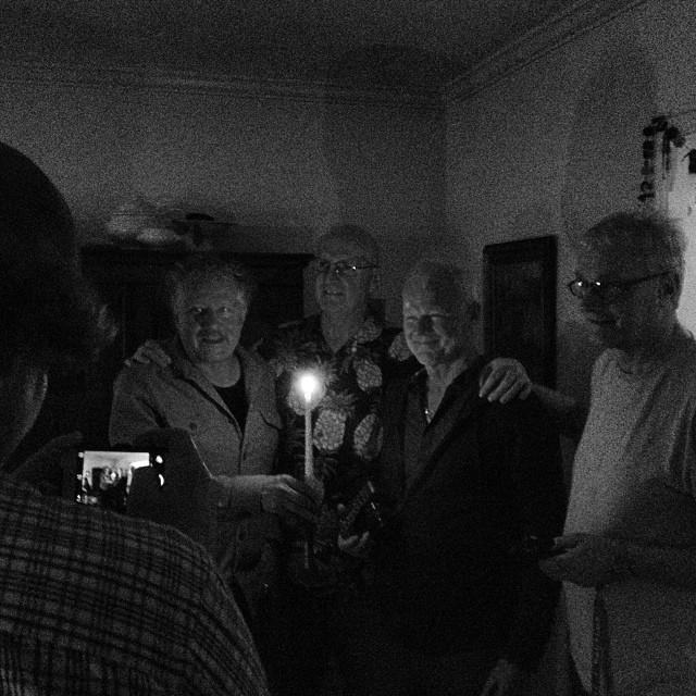 Four legendary cinematographers light themselves in a dark room by candlelight for the shot… #dinner #goodcompany #camera talk all night #perfect @robincharters @rodneykiwi  #uelisteiger #billbennett #rodneycharters #keesvanoostrum