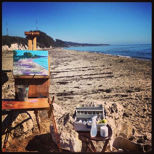 #pleinair #painting workshop at the start of day 1 Learning so much but I'm knackered & need a whiskey #success #nature #beach #santabarbara #love
