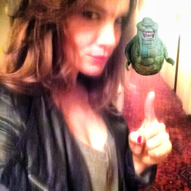 Sorry #slimer I know we're neighbors but you can't come with me to see #atomsforpeace #myhauntedhallway #ghosts #nofilter #oldhollywoodapartmentsaresohaunted haha