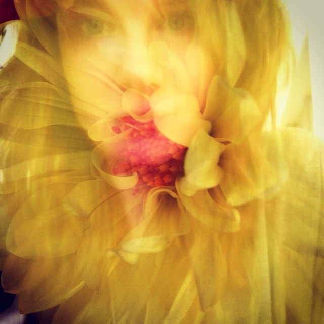So sleepy from painting flowers all night. I think I've turned into one. #metamorphosis #selfie