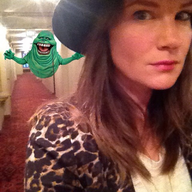 Back home from a fun night out. Tricked him into thinking I was taking a #selfie haha #slimer #finally #ghost #myhauntedhallway #oldhollywood #nofilter