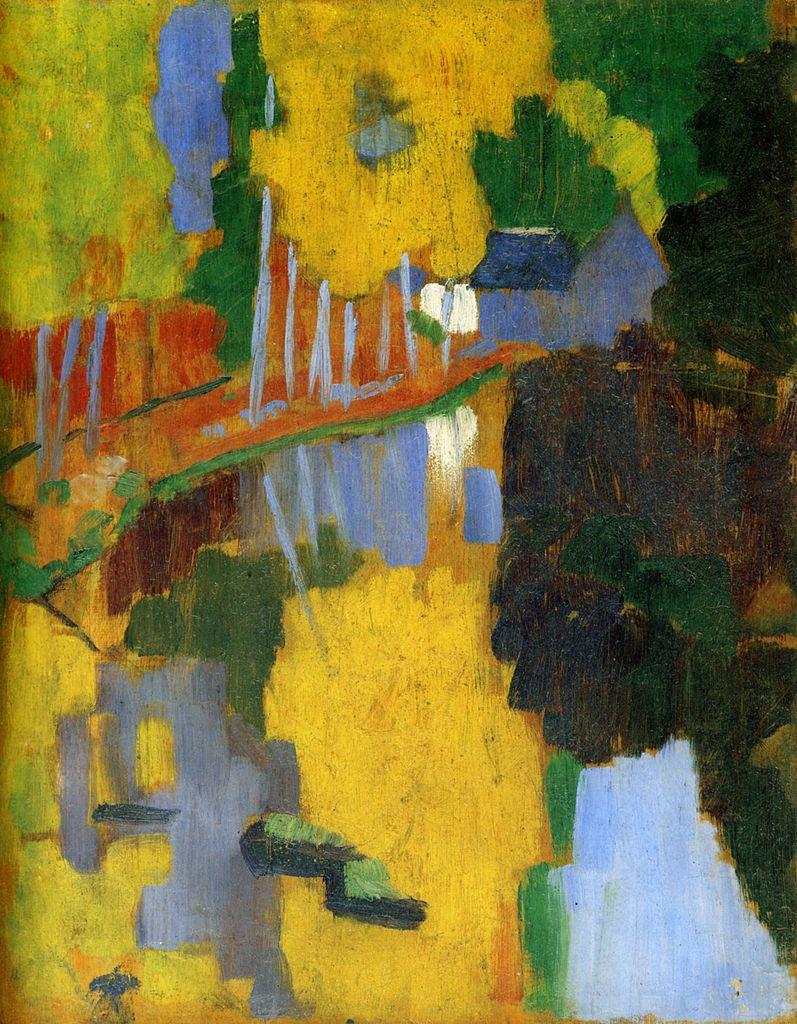 "cavetocanvas :     Paul Sérusier,   The Talisman, the Aven River at the Bois d'Amour,  1888    From the  Musée d'Orsay :      Paul Sérusier sojourned in Pont-Aven during the summer of 1888, as Paul Gauguin, whose advice he followed. On his returning to Paris, he showed his young fellow painters, the future ""Nabis"" (""prophets"" in Hebrew), what was to become their ""Talisman"".   A close observation of the painting allows one to recognise certain elements of the landscape represented : the wood, at the top on the left, the transversal path, the row of beech trees on the river bank, and the mill, at the back, on the right. Each of these elements is a stain of colour. According to Maurice Denis, Gauguin had told Séruzier : ""How do you see these trees? They are yellow. So, put in yellow; this shadow, rather blue, paint it with pure ultramarine; these red leaves? Put in vermilion"".    Although they were determined that visual sensation should prevail over the intellectual perception of the world, the impressionists had not given up a conception of painting implying the representation of what they observed. Here the mimetic conception is thoroughly replaced by the search for a coloured equivalent. Maurice Denis explained that in front of this landscape, he and his friends felt ""liberated from all the yokes that the idea of copying brought to [our] painters' instincts"". Posterity was to see - in retrospect – in this painting the manifesto of a pure painting, autonomous and abstract, related to Maurice Denis's famous statement: ""Remember that a painting, before being a battle horse, a nude woman or any anecdote, is essentially a plane surface covered with colours assembled in a certain order."", that was not published before… 1914, in  Theories..  .        One of my favorites."