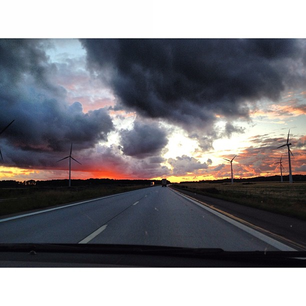 Driving through a #spectacular#sunset to #gotenburg#sweden for the #wayoutwest#festival #latergram