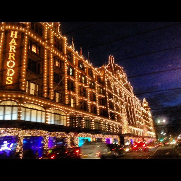 finally landed to post my first touristy shot of jolly old' #england#harrods#drivebyshot#christmas#lights#london Happy to be here. ☺
